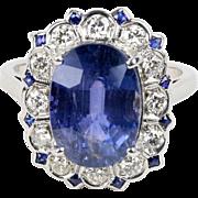 Vintage 7.75 Carat Sapphire and Diamond 14K Gold Alternative Engagement Ring