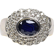 Dark Blue Sapphire and Diamond 14K Gold Cocktail Cluster Ring