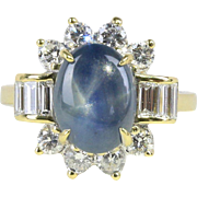 Vintage 3 Carat Star Sapphire and 1 Carat Diamond 18K Gold Cocktail Ring