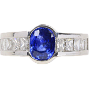 Natural 1.25 Carat Blue Sapphire and 1.5 Carat Princess Cut Diamond 18K Gold Ring