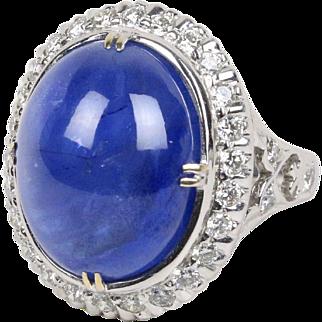27 Carat Cabochon Sapphire 1.6 Carat Diamond 18K Gold Cocktail Statement Ring