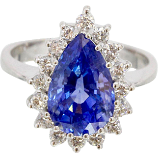 Pear Shaped Natural Blue Sapphire Diamond Halo 14K White Gold Alternative Engagement Ring