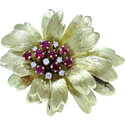 Vintage Tiffany & Co 18K Gold Flower Spray Brooch with Diamonds Rubies
