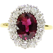 Vintage Tiffany & Co Ruby Diamond Halo Alternative Engagement 18K Gold Ring