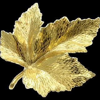 Vintage Tiffany & Co 18K Gold Maple Leaf Brooch