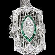 Art Deco Platinum Filigree Old Mine Cut Diamond Synthetic Emerald Conversion Pendant Necklace