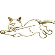 Vintage Tiffany & Co 18K Gold Open Work Cat Brooch Pin