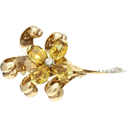 Vintage Tiffany & Co Citrine and Diamond 14K Gold Flower Daisy Brooch