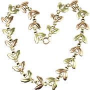 Vintage 1940s Tiffany & Co 14K Rose and Green Gold Choker Retro Necklace