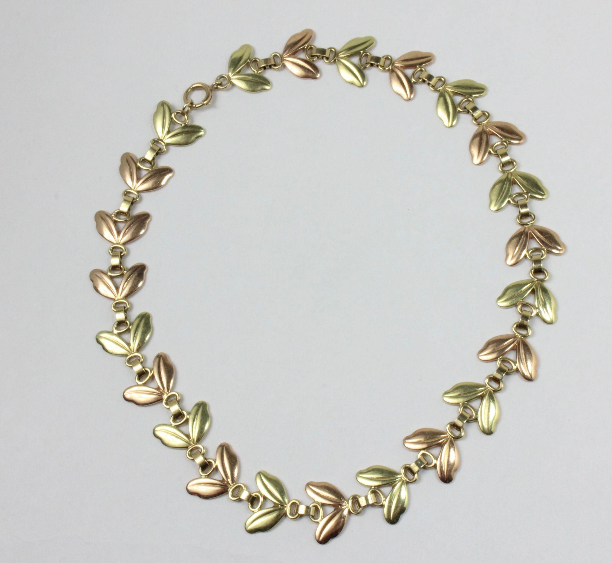 Vintage 1940s Tiffany & Co 14K Rose and Green Gold Choker Retro