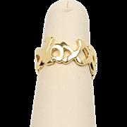 "Vintage Tiffany & Co Paloma Picasso ""XOXO"" 18K Gold Ring Band"