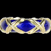 "Vintage Tiffany & Co Blue Enamel ""X"" 18K Gold Band Ring"