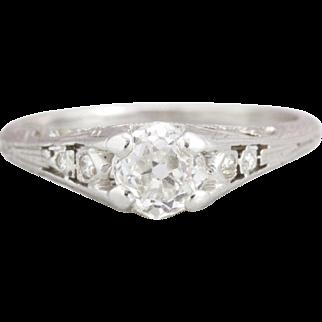 Old Mine Cut Diamond Engagement Ring in Platinum