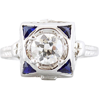 Old European Cut Diamond and Sapphire 18kt White Gold Engagement Ring | Kayleigh