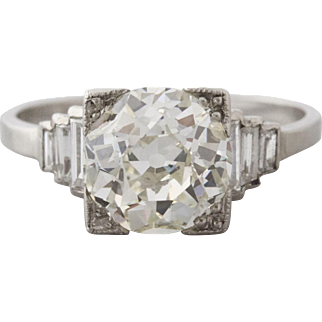 2.54 GIA Old European Cut Diamond with Baguette Sides in Platinum | Kimberly