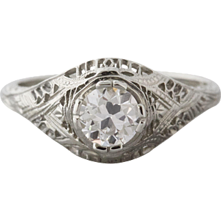 Old European Cut Diamond and Filigree Engagement Ring | Mia