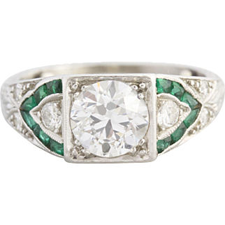 Old European Cut Diamond and Emerald Engagement Ring | Roxanne