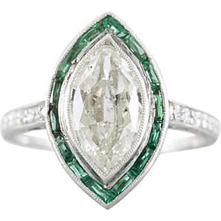 Art Deco Marquise Diamond Engagement Ring with Emerald Halo | Sage