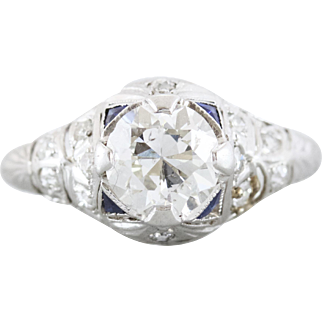 Old European Cut Diamond and Sapphire Engagement Ring | Vera