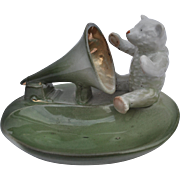 A rare German teddy bear with gramophone horn fairing, circa 1910