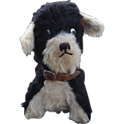A British black and white wool plush puppy with googlie eyes, probably Fondle Toys, 1930s