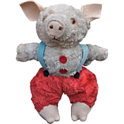 A rare Chiltern artificial-silk plush dressed piglet, 1950s
