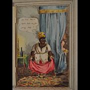 Rare antique Charles Tilt opening door cartoon print, optical toy, black mammy, 1830s,