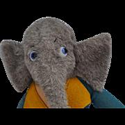 Unusual vintage dressed elephant soft toy, 1930s