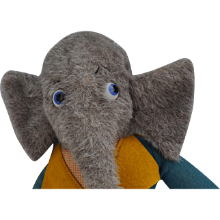 Unusual vintage dressed elephant soft toy, 1930s