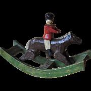 Rare Erzebirge carved wooden miniature rocking horse,