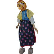 A rare Florig and Otto German wooden girl doll, 1930s