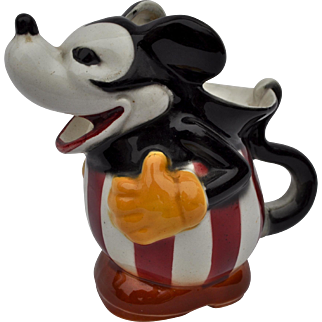 An unusual German pottery Mickey Mouse jug, 1930s