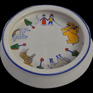 An unusual vintage nursery china Noah's Ark baby plate, 1920s