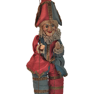 A stunning and early papier-mache toy Pulcinella (Mr Punch) 1880s