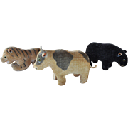 Three exquisite velvet miniature animals, probably German, early 20th century