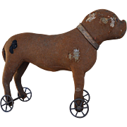 Charming early German boxer dog on wheels, circa 1905 in need of some tender loving care!