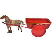 A 1920s German horse-drawn tinplate cart sand toy,