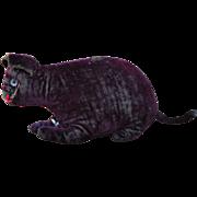 An early primitive wine coloured velvet cat, 1905-1910,