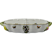 HEREND ROTHSCHILD BIRD Four Part Divided Relish Tray with Handles 442-0-00- RO
