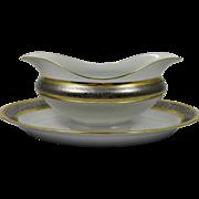 BERNARDAUD Limoges Vulcain Gravy / Sauce Server w/ Attached underplate