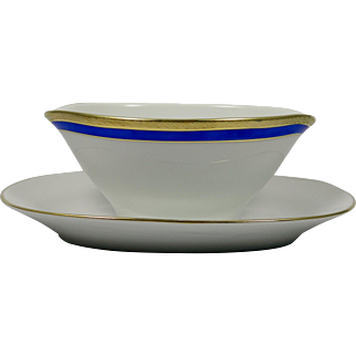 RICHARD GINORI Palermo Blue Gravy Bowl with attached Tray