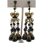 Vintage Chandelier Jet Black Glass Filigree Screw  Back Earrings