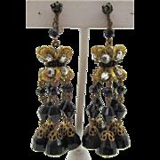 Vintage Chandelier Jet Black Glass Filigree Screw  Back Earrings