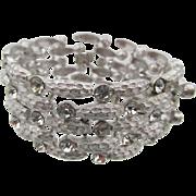 Vintage Crown Trifari Brushed Silver Weave Rhinestone Bracelet