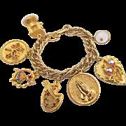 Vintage Gold Plated Rhinestone Charm Bracelet 1960s