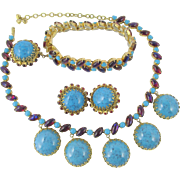 Hattie Carnegie Faux Turquoise Cabochon and Dragon's Breath  Rhinestone Necklace, Bracelet and Earring Parure
