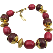 Vintage YSL Yves Saint Laurent Berry Colored Beaded Necklace