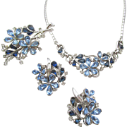 Vintage Crown Trifari Blue Teardrop Floral Necklace, Brooch and Earring Parure
