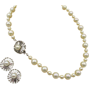 Vintage Jomaz Faux Pearl Rhinestone Necklace and Earrings