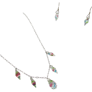 Vintage Iris Glass Rainbow Necklace and Drop Earrings
